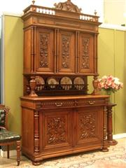 Sale 8925H - Lot 20 - An antique French two-height carved oak five door sideboard with turned column decoration and plate gallery (separates into two part...