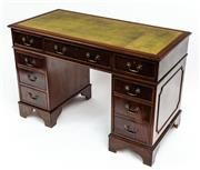Sale 9015J - Lot 164 - A good quality vintage English 9 drawer double pedestal desk, the gilt tooled green leather top above 3 freize drawers, each of the ...