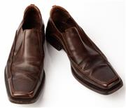 Sale 9080F - Lot 30 - A PAIR OF CESARE PACIOTTI BROWN LEATHER SQUARE TOE DRESS SHOES; , size 8.5 needs resoling.