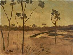 Sale 9150 - Lot 552 - RAY CROOKE (1925 - 2006) Sunburnt Country oil on board 45 x 59 cm (frame 62 x 77 x 3 cm) signed lower right