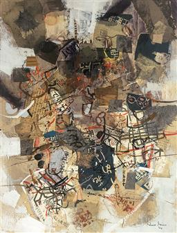 Sale 9123J - Lot 119 - Robert Grieve (Australian 1924-2006) Untiled from his Japanese Period (Signed and dated 64 lower left) Mixed media collage on board ...