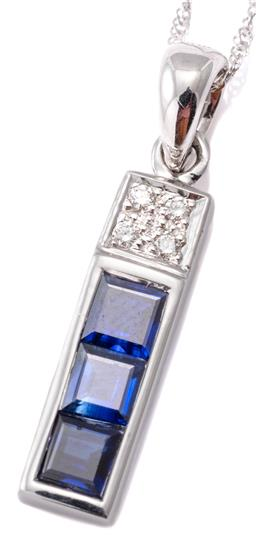 Sale 9124 - Lot 424 - A SAPPHIRE AND DIAMOND PENDANT NECKLACE; set in 14ct white gold with 3 carre cut blue sapphires and 4 round brilliant cut diamonds,...