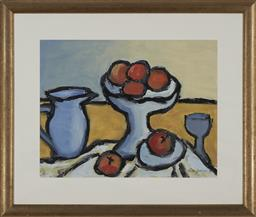 Sale 9170A - Lot 5092 - ROSINE GROSMOUGIN Still life, 1994 oil and watercolour on paper 50 x 64 cm (frame: 79 x 92 x 3 cm) signed lower right