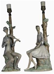 Sale 7988 - Lot 89 - Lladro Figural Violinist & Girl with Mandolin Lamps