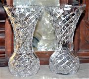 Sale 7997 - Lot 43 - A PAIR OF TALL HAND CUT LEAD CRYSTAL MANTLE VASES