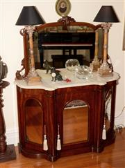 Sale 8107B - Lot 96 - A Victorian carved Mahogany Credenza with mirror back and white marble top, the three mirror panelled doors revealing a shelved inte...