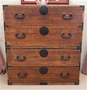 Sale 8550H - Lot 215 - A Korean timber travelling chest with metal hardware, each H 51, total H 102 x W 94 x D 41cm