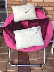 Sale 8774A - Lot 351 - Two folding chairs with circular pink padded seats, diameter 90cm