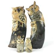Sale 8758 - Lot 216 - Pair of Horn Carved Owls & a smaller pair (4)