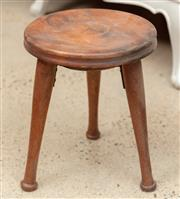 Sale 9060H - Lot 66 - A small fruitwood milking stool with circular top over three skittle legs 30cm
