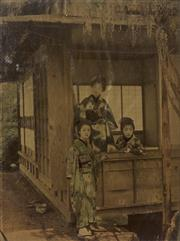Sale 9072 - Lot 2091 - A Pair of C19th Japanese photographs, in lacquer frames - 31 x 37 cm (each)