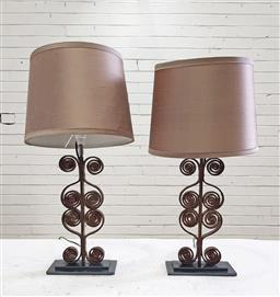 Sale 9102 - Lot 1128 - Pair of wrought iron table lamps  (h62cm)