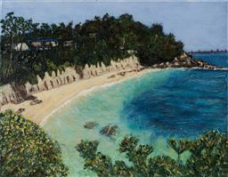 Sale 9109A - Lot 5049 - Stanley Perl (1942 - ) Secluded Beach acrylic on canvas 41 x51 cm signed and titled verso