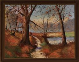 Sale 9150A - Lot 5082 - ARTIST UNKNOWN Sunset Landscape oil on canvas 94 x 124 cm (frame: 109 x 129 x 5 cm) signed lower right