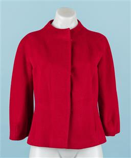 Sale 9092F - Lot 59 - AN L.K BENNETT RED WOOLLEN COLLARLESS JACKET, with 3/4 sleeves, Size 8.