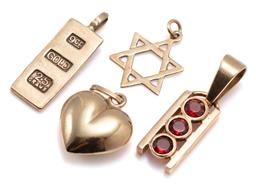 Sale 9182 - Lot 356 - FOUR 9CT GOLD PENDANTS; one set with 3 round cut garnets, a 2.5g ingot, star of David and heart, lengths 28-18mm, total wt, 7.10g.