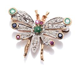 Sale 9169 - Lot 342 - A VINTAGE DIAMOND AND GEMSET INSECT BROOCH; wing tips and eyes set with round cut emeralds, blue sapphires, and rubies with a caboch...