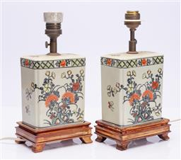 Sale 9185E - Lot 106 - A pair of floral themed ceramic lamp bases, untested, Height 30cm