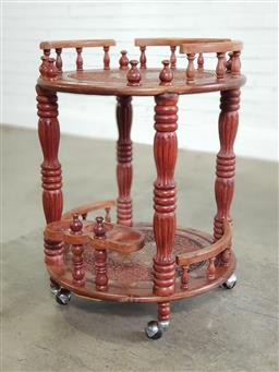 Sale 9188 - Lot 1630 - Indian hardwood drinks trolley with brass inlay (h:79 dia:56cm)
