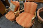 Sale 8013 - Lot 1159 - Pair of Timber Framed Upholstered Armchairs w Cushion