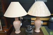 Sale 8277 - Lot 1006 - Pair of Tall Italian Lamps (org/blu)