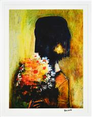 Sale 8330A - Lot 64 - Charles Blackman (1928 - ) - Girl with Yellow Bouquet 89 x 67cm