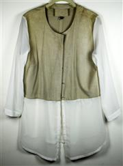Sale 8460F - Lot 88 - A Morrison beige suede and ivory chiffon collarless shirt, size M