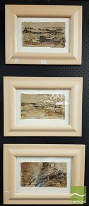 Sale 8478 - Lot 2047 - Artist Unknown (3 works) Abstract Landscapes, mixed media on canvas, frame size: 32 x 42cm, each, unsigned, each