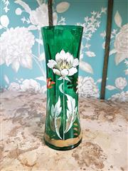 Sale 8500A - Lot 79 - A decorative antique victorian tall green vase featuring beautiful handpainted detail & gilded accents- Condition: Very Good - Measu...