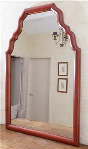 Sale 8550H - Lot 216 - A Dutch style red painted timber shaped mirror, H 98 x W 66cm