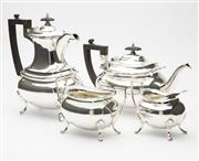 Sale 8620A - Lot 84 - An excellent quality English Walker and Hall silverplate Chippendale pattern 4 piece tea and coffee service, coffee pot, H 24cm