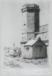 Sale 8683A - Lot 5071 - Alfred R. Coffey (1869 - 1950) - Stone Tower, Fort Macquarie Bennelong Point, 1929 17 x 11cm
