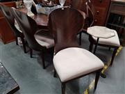 Sale 8717 - Lot 1040 - Inlaid Single Pedestal Dining Table with 6 Scallop Back Chairs