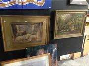 Sale 8767 - Lot 2075 - (2 works) Charles Thomas Baile Resting Sheep in the Manger, 1882 watercolour, plus an Early C20th Landscape painting -