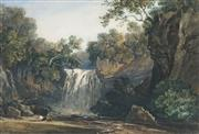 Sale 8821 - Lot 561 - Attributed to George Arthur Fripp (1813 - 1895) - Waterfall and Reclined Figure 27.5 x 41.5cm