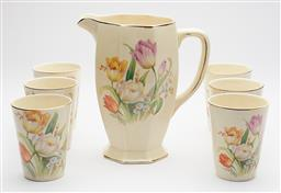 Sale 9123J - Lot 316 - A good vintage English Royal Staffordshire drinks set C: 1940's, the large jug and 6 matching tumblers decorated with tulips, excell..