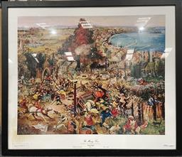 Sale 9135 - Lot 2087 - Arthur Boyd, The Mining Town, photolithograph, ed. 906/2000, frame: 77 x 89, unsigned -