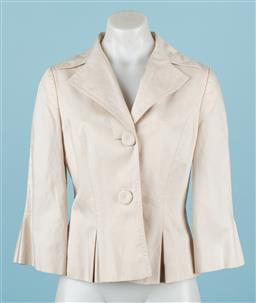 Sale 9092F - Lot 99 - A LAURA ASHLEY CREAM LINEN JACKET, Size 10