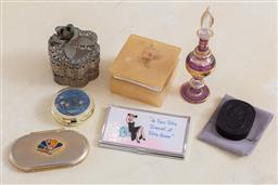 Sale 9165H - Lot 90 - A group of perfume and dressing table related items including diptych solid perfume etc