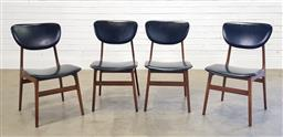 Sale 9188 - Lot 1051 - Set of four vintage CRO dining chairs with vinyl upholstery (h80 x w44 x d50cm)
