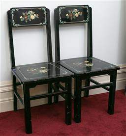 Sale 9190H - Lot 265 - A set of four ebonised and floral painted side chairs, Height of back 88cm, some losses