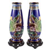 Sale 8000 - Lot 35 - A pair of Chinese cloisonné vases decorated with peacock and peahen on associated timber bases.