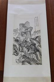 Sale 8189 - Lot 117 - Chinese Water Colour Landscape Scroll