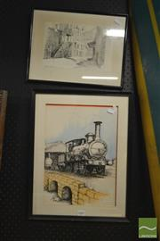 Sale 8214 - Lot 2087 - Pair Of Ink Artworks On Paper, various sizes