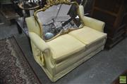 Sale 8326 - Lot 1471 - Yellow Striped Two Seater Lounge