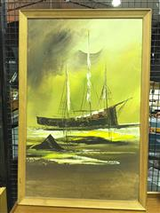 Sale 8550 - Lot 1013A - Retro Artwork of a Ship at Sea, oil on board, signed lower right