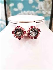 Sale 8577 - Lot 173 - A pair of 1940s pink and smokey crystal/ diamante clip on earrings, Condition: Excellent