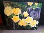 Sale 8648B - Lot 2082 - Marcia Rea - Yellow Roses oil on canvas, 50 x 60cm, signed lower left -