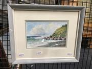 Sale 8720 - Lot 2044 - Herbert Clarke Simpson - Lovers Rock 1960, watercolour, 13.5 x 20cm, signed and dated lower right