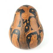 Sale 8758 - Lot 215 - Pokerwork Gourd decorated with Owls